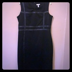 Woman's black dress w leather embellishment FIRM